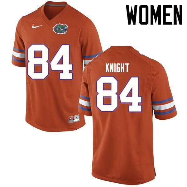 Women's Florida Gators #84 Camrin Knight Orange Nike NCAA College Football Jersey WGP805MJ