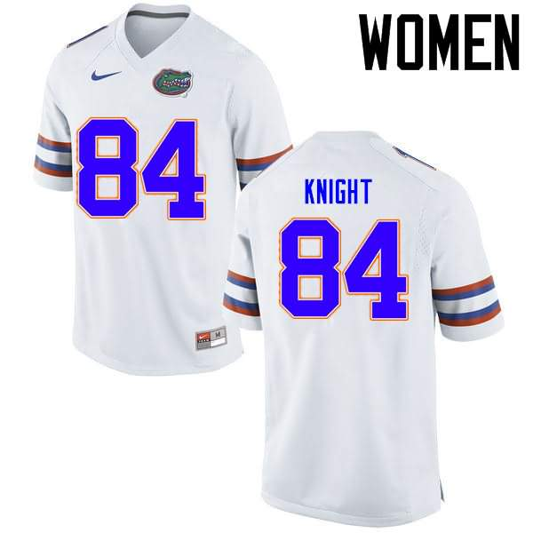 Women's Florida Gators #84 Camrin Knight White Nike NCAA College Football Jersey CJL030PJ