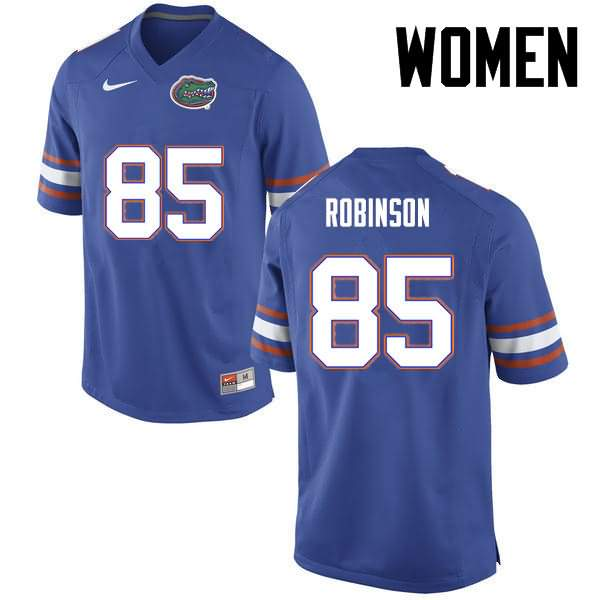 Women's Florida Gators #85 James Robinson Blue Nike NCAA College Football Jersey HXM020KJ