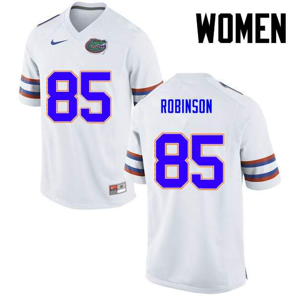 Women's Florida Gators #85 James Robinson White Nike NCAA College Football Jersey TNR808YJ