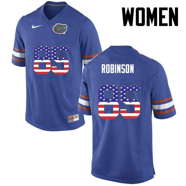 Women's Florida Gators #85 James Robinson USA Flag Fashion Nike NCAA College Football Jersey ACK544YJ