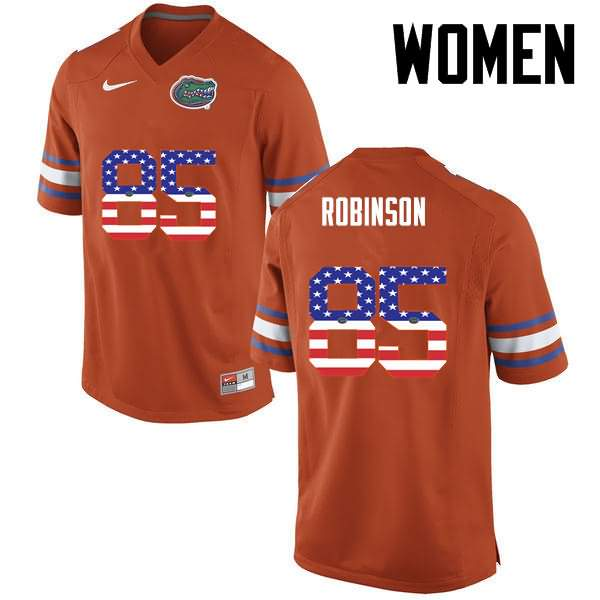 Women's Florida Gators #85 James Robinson USA Flag Fashion Nike NCAA College Football Jersey XCH758ZJ