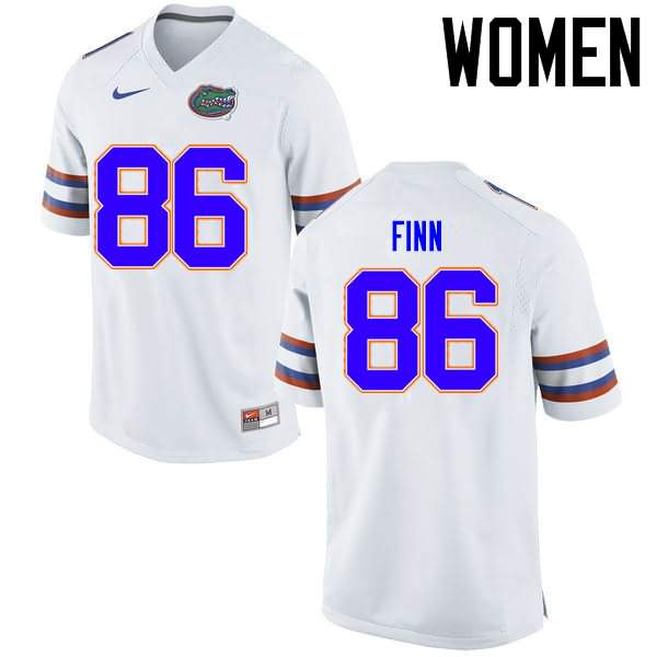 Women's Florida Gators #86 Jacob Finn White Nike NCAA College Football Jersey ULE500VJ