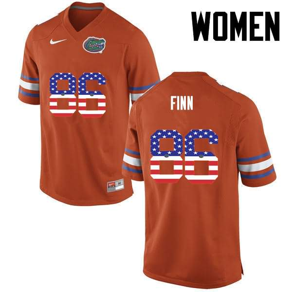 Women's Florida Gators #86 Jacob Finn USA Flag Fashion Nike NCAA College Football Jersey IIV860QJ