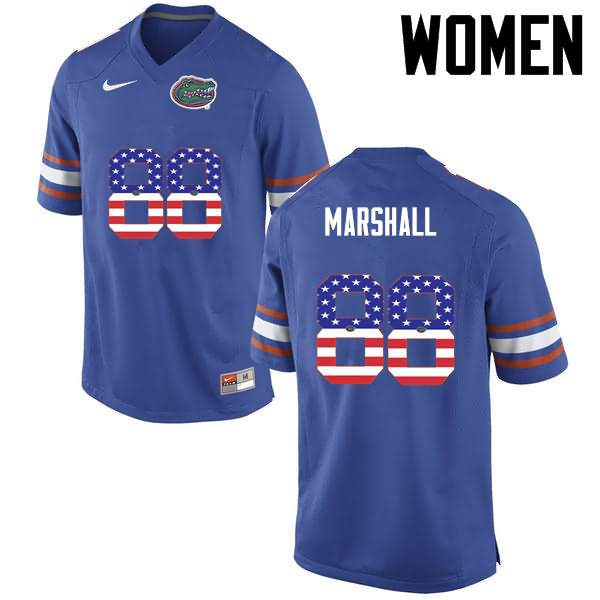 Women's Florida Gators #88 Wilber Marshall USA Flag Fashion Nike NCAA College Football Jersey LRO754WJ