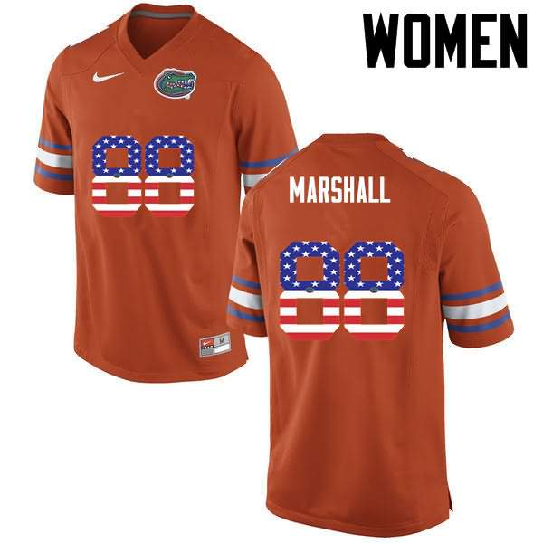 Women's Florida Gators #88 Wilber Marshall USA Flag Fashion Nike NCAA College Football Jersey YRV703HJ