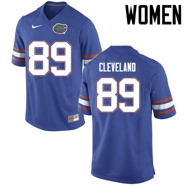 Women's Florida Gators #89 Tyrie Cleveland Blue Nike NCAA College Football Jersey CBV224CJ