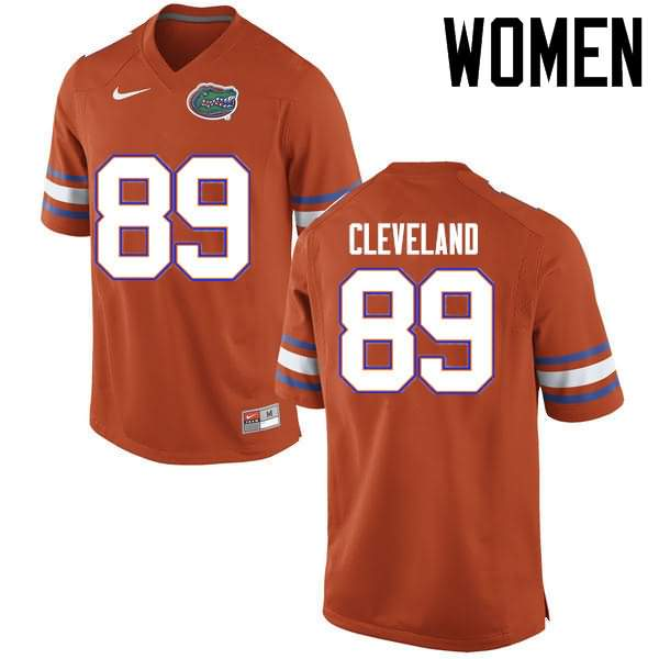 Women's Florida Gators #89 Tyrie Cleveland Orange Nike NCAA College Football Jersey YHG670EJ