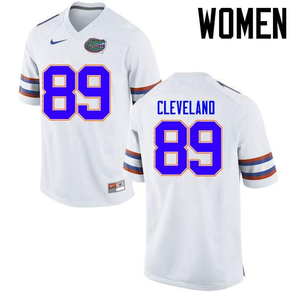 Women's Florida Gators #89 Tyrie Cleveland White Nike NCAA College Football Jersey DUM216CJ