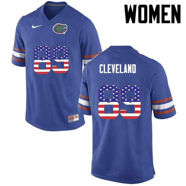 Women's Florida Gators #89 Tyrie Cleveland USA Flag Fashion Nike NCAA College Football Jersey FXC800JJ