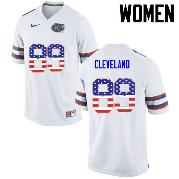 Women's Florida Gators #89 Tyrie Cleveland USA Flag Fashion Nike NCAA College Football Jersey FLO832KJ