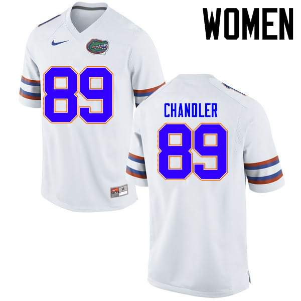Women's Florida Gators #89 Wes Chandler White Nike NCAA College Football Jersey LGJ102YJ