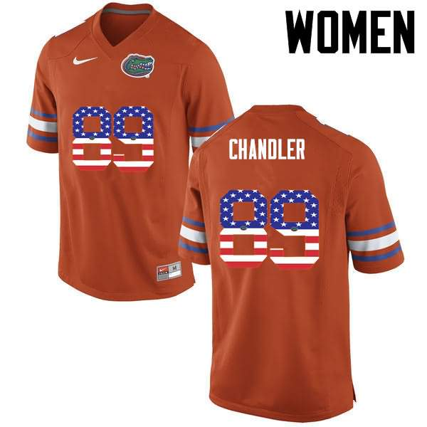 Women's Florida Gators #89 Wes Chandler USA Flag Fashion Nike NCAA College Football Jersey UNV846BJ