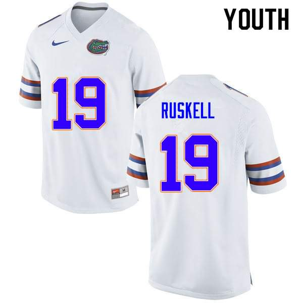 Youth Florida Gators #19 Jack Ruskell White Nike NCAA College Football Jersey LIL832IJ