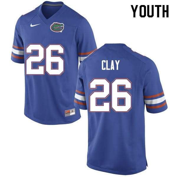 Youth Florida Gators #26 Robert Clay Blue Nike NCAA College Football Jersey AFI847EJ