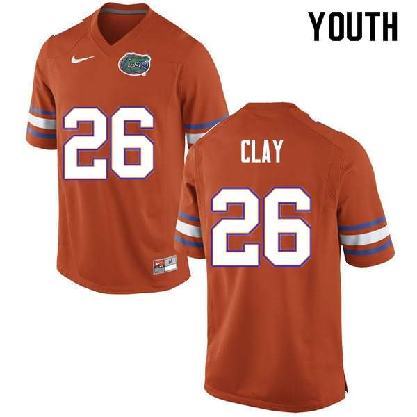 Youth Florida Gators #26 Robert Clay Orange Nike NCAA College Football Jersey KXG513UJ