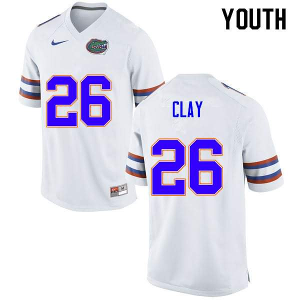Youth Florida Gators #26 Robert Clay White Nike NCAA College Football Jersey KQR244XJ