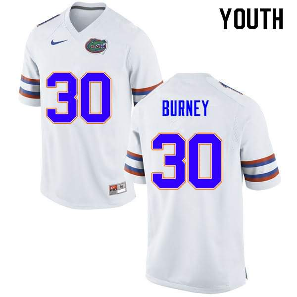 Youth Florida Gators #30 Amari Burney White Nike NCAA College Football Jersey HVS361KJ
