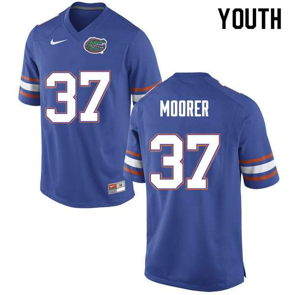 Youth Florida Gators #37 Patrick Moorer Blue Nike NCAA College Football Jersey MYG815CJ