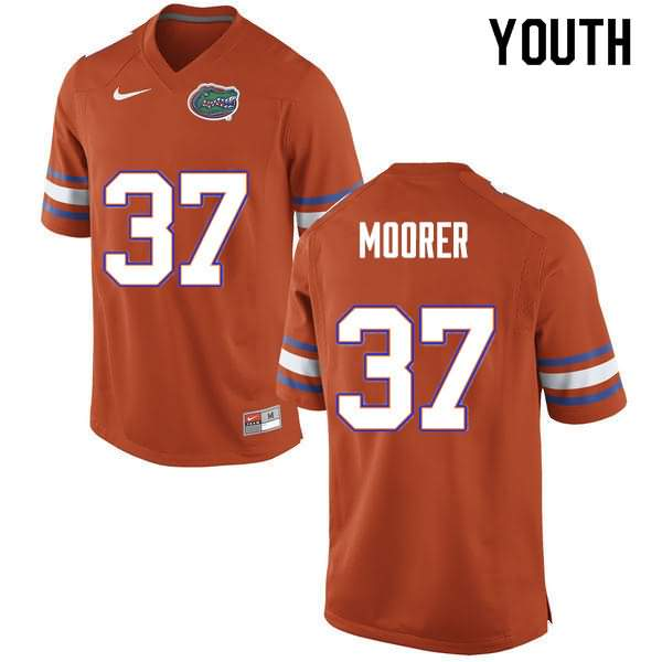 Youth Florida Gators #37 Patrick Moorer Orange Nike NCAA College Football Jersey EPU542RJ