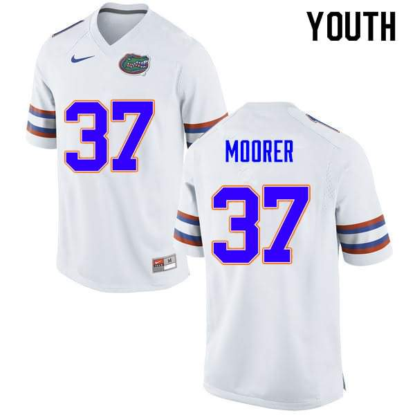 Youth Florida Gators #37 Patrick Moorer White Nike NCAA College Football Jersey HKB664MJ