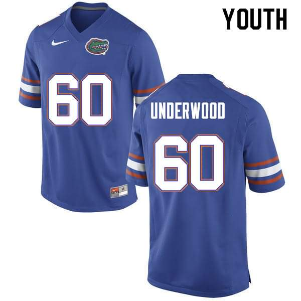 Youth Florida Gators #60 Houston Underwood Blue Nike NCAA College Football Jersey TZF683XJ