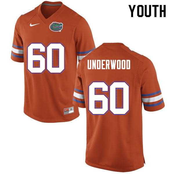 Youth Florida Gators #60 Houston Underwood Orange Nike NCAA College Football Jersey JKG838SJ