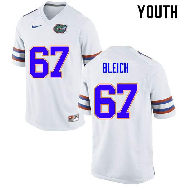 Youth Florida Gators #67 Christopher Bleich White Nike NCAA College Football Jersey AOG214NJ