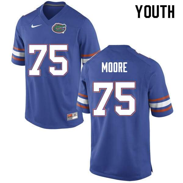 Youth Florida Gators #75 T.J. Moore Blue Nike NCAA College Football Jersey HYZ847HJ