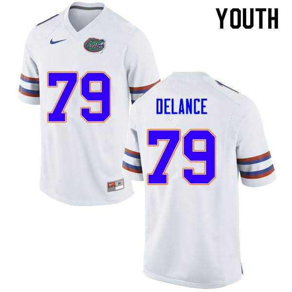 Youth Florida Gators #79 Jean DeLance White Nike NCAA College Football Jersey UXH571WJ