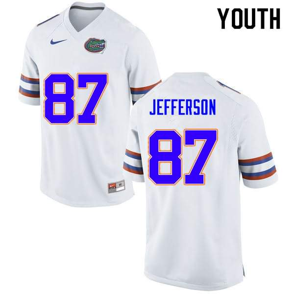 Youth Florida Gators #87 Van Jefferson White Nike NCAA College Football Jersey NPY510HJ