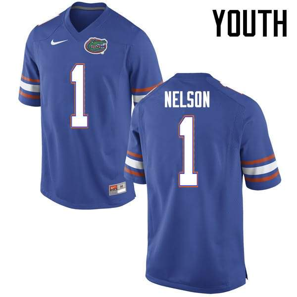Youth Florida Gators #1 Reggie Nelson Blue Nike NCAA College Football Jersey KIZ762RJ