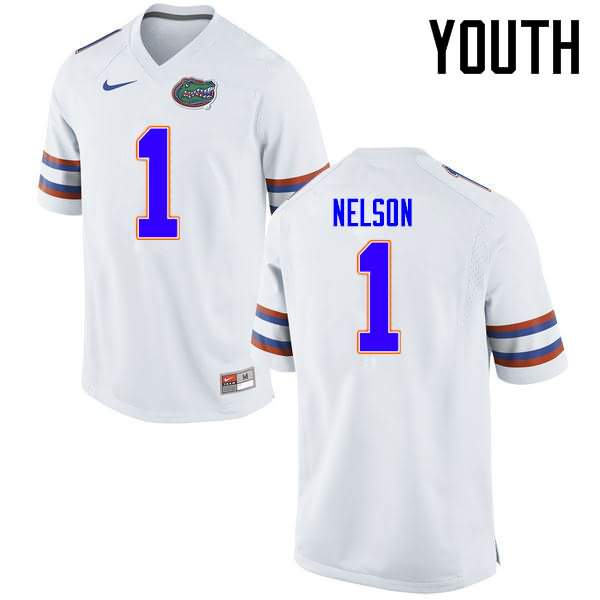 Youth Florida Gators #1 Reggie Nelson White Nike NCAA College Football Jersey BVV142OJ