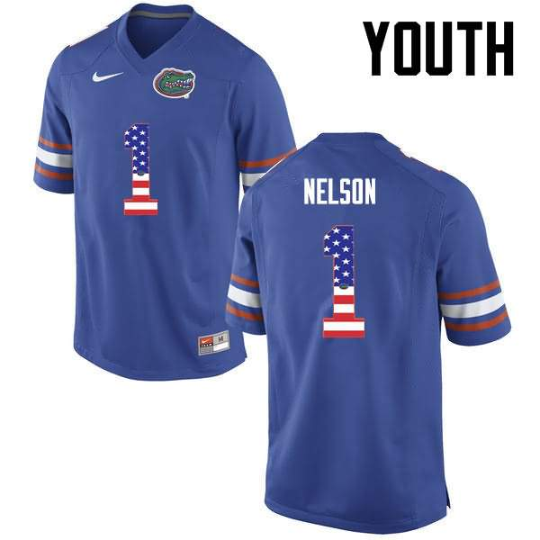 Youth Florida Gators #1 Reggie Nelson USA Flag Fashion Nike NCAA College Football Jersey CNU752AJ