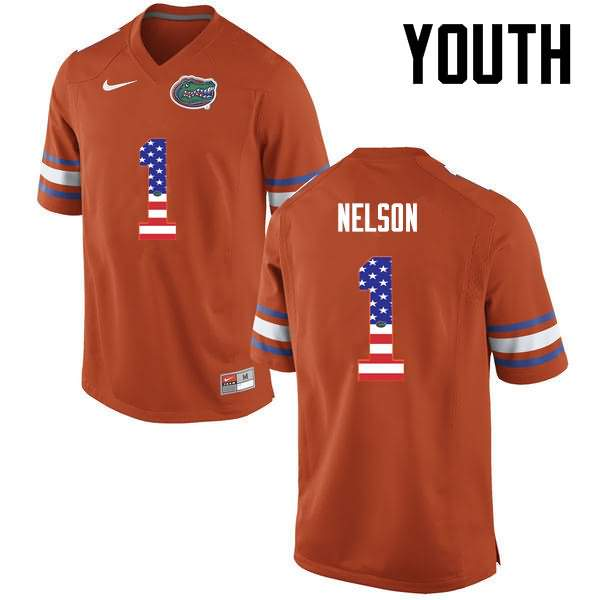 Youth Florida Gators #1 Reggie Nelson USA Flag Fashion Nike NCAA College Football Jersey TCF285PJ