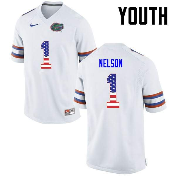 Youth Florida Gators #1 Reggie Nelson USA Flag Fashion Nike NCAA College Football Jersey XBF385MJ