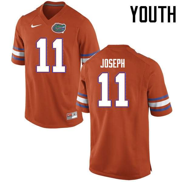 Youth Florida Gators #11 Vosean Joseph Orange Nike NCAA College Football Jersey MDX084QJ