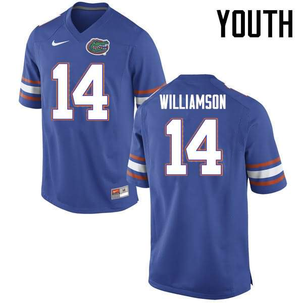 Youth Florida Gators #14 Chris Williamson Blue Nike NCAA College Football Jersey AYA482OJ