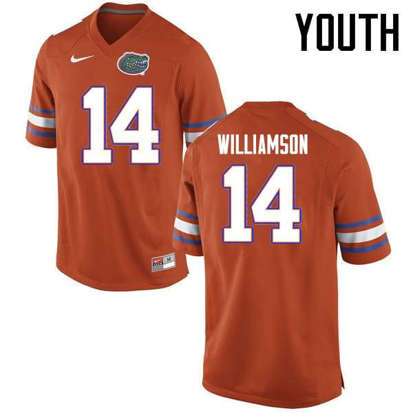 Youth Florida Gators #14 Chris Williamson Orange Nike NCAA College Football Jersey YGO122CJ