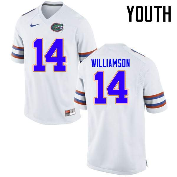 Youth Florida Gators #14 Chris Williamson White Nike NCAA College Football Jersey NED112GJ