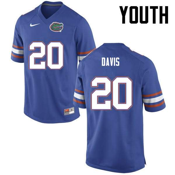 Youth Florida Gators #20 Malik Davis Blue Nike NCAA College Football Jersey GHO763EJ
