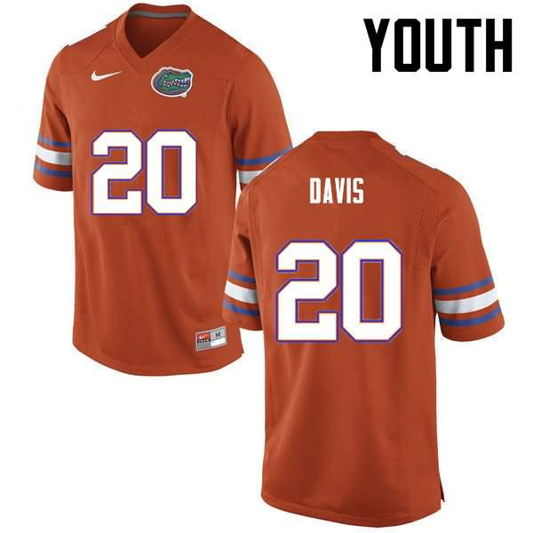 Youth Florida Gators #20 Malik Davis Orange Nike NCAA College Football Jersey YNM863QJ