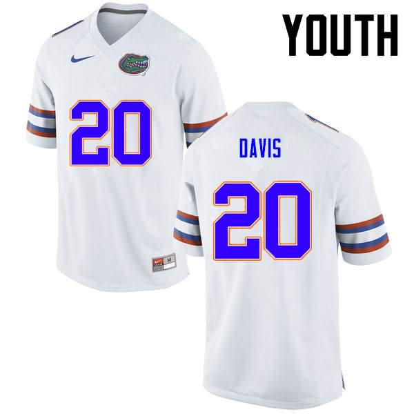 Youth Florida Gators #20 Malik Davis White Nike NCAA College Football Jersey BDA202GJ