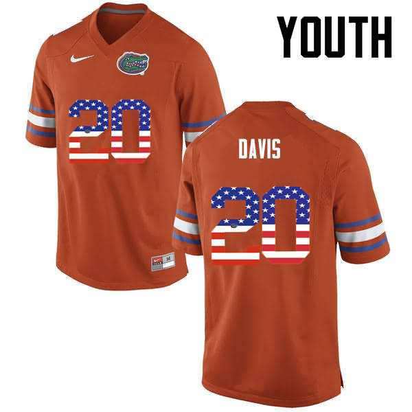 Youth Florida Gators #20 Malik Davis USA Flag Fashion Nike NCAA College Football Jersey XEB436RJ