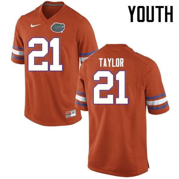 Youth Florida Gators #21 Fred Taylor Orange Nike NCAA College Football Jersey IWR268LJ