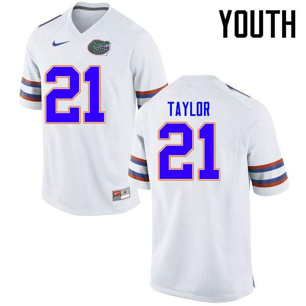 Youth Florida Gators #21 Fred Taylor White Nike NCAA College Football Jersey YSA646JJ