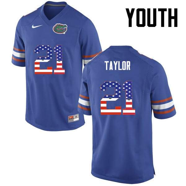 Youth Florida Gators #21 Fred Taylor USA Flag Fashion Nike NCAA College Football Jersey TCD650IJ