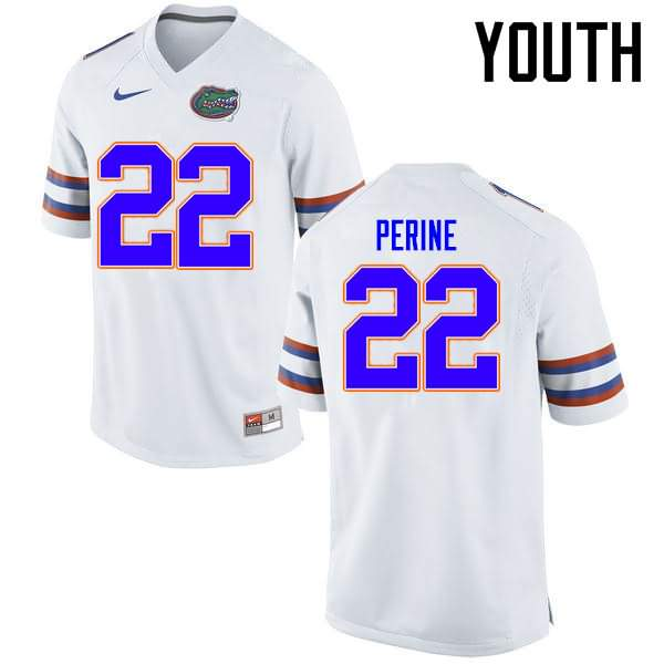 Youth Florida Gators #22 Lamical Perine White Nike NCAA College Football Jersey GRG162ZJ