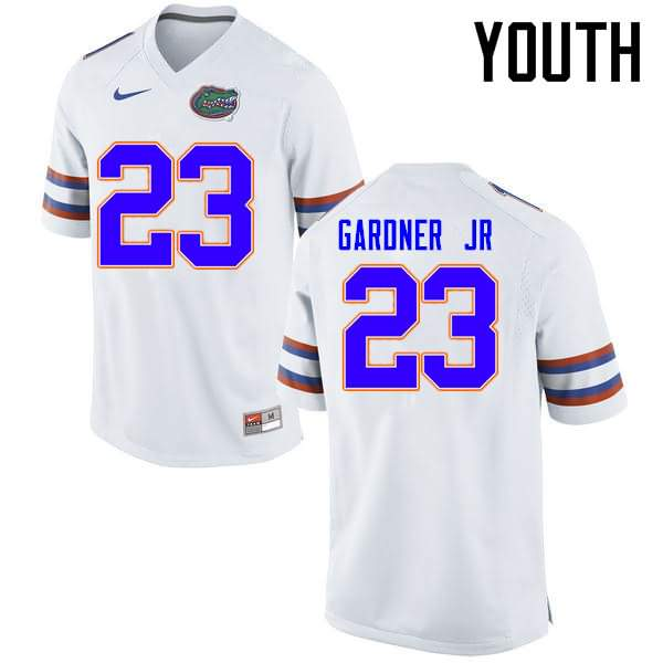 Youth Florida Gators #23 Chauncey Gardner Jr. White Nike NCAA College Football Jersey FLC521JJ