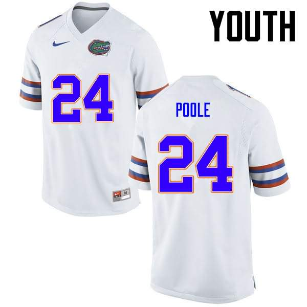 Youth Florida Gators #24 Brian Poole White Nike NCAA College Football Jersey IBN238JJ